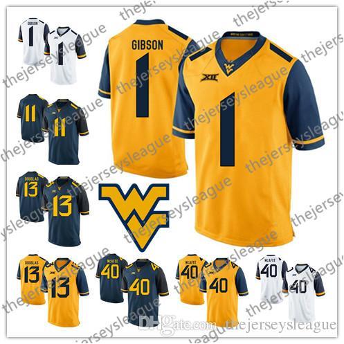 half off 300f8 4b4e2 University West Virginia Mountaineers #1 Shelton Gibson 13 Rasul Douglas 40  Pat McAfee Navy Yellow Good Quality Stitched Football Jerseys