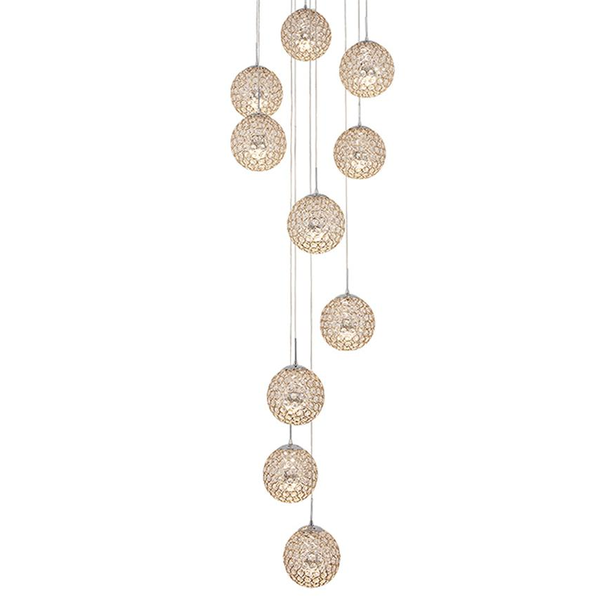 Lighting Basement Washroom Stairs: Modern Large LED Crystal Pendant Lights Stair Long Ball