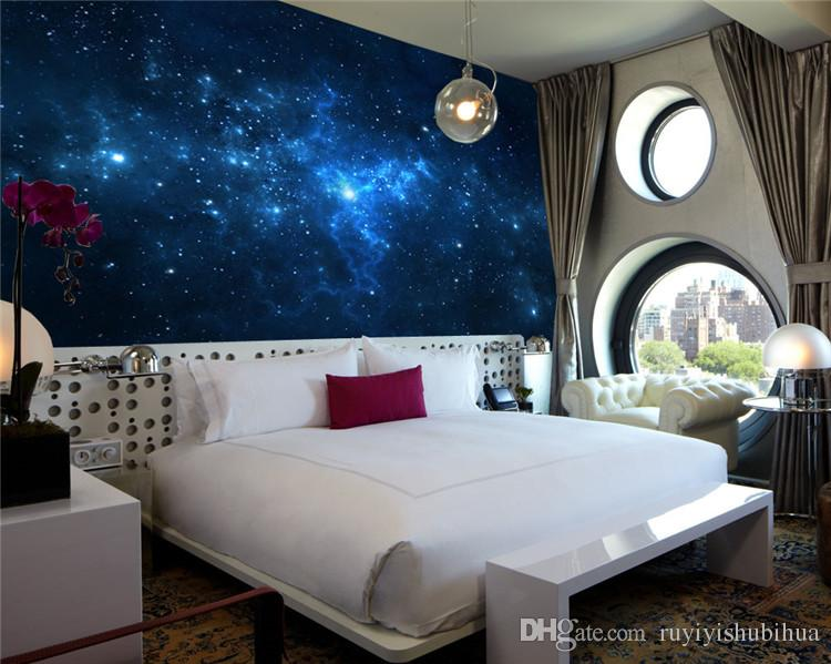Blue Galaxy Wall Mural Beautiful NightSky photo wallpaper Custom Silk Wallpaper Art Painting Room decor Children room Bedroom