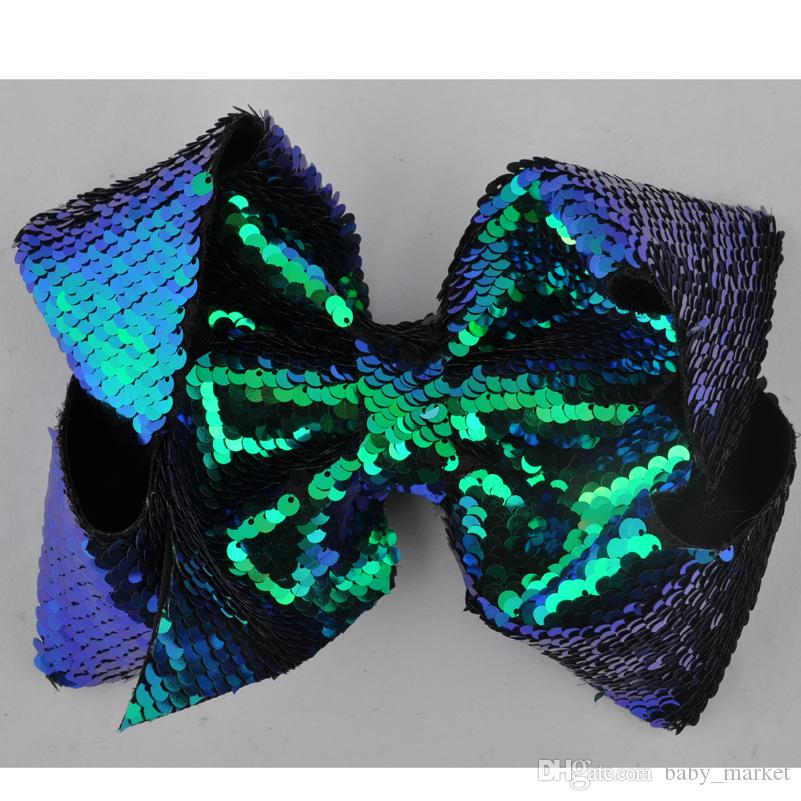 8 Inch Big Large Hair Bow Rainbow Glitter Sequins Mermaid Alligator Clips Women Children Girls Hair Accessories