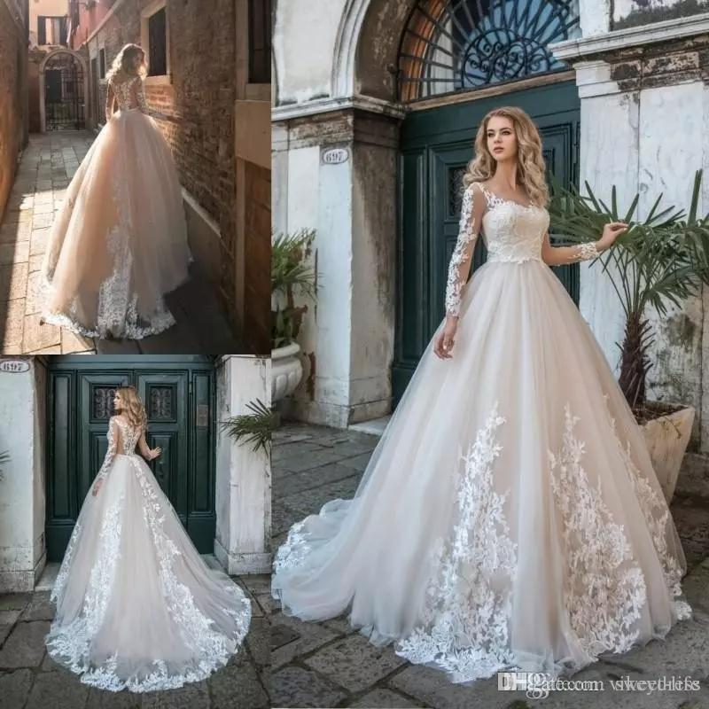 Simple Design Scoop Neck Long Sleeve Long A Line Tulle: Discount Long Sleeves Lace Wedding Dresses 2019 With