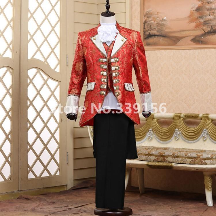 Grosshandel Barock Prinz Druck Anzug Rot Europaischen Stil Vintage