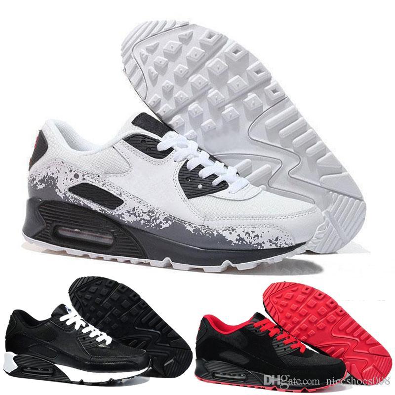 678b945514f Nike Air Max Airmax 90 Venta Caliente Barato Zapatillas Zapatos Maxes 90  Para Hombre Y Mujer Zapatillas Todo Negro Blanco Transpirable Deportes  Zapatillas ...