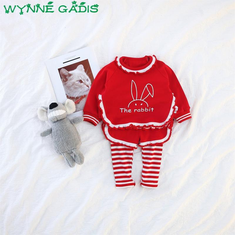 Autumn Baby Girls Clothing Sets Cartoon Rabbit Ruffles Sweatshirt Hoodies + Striped Skinny Pants Kids Princess 2Pcs Suits