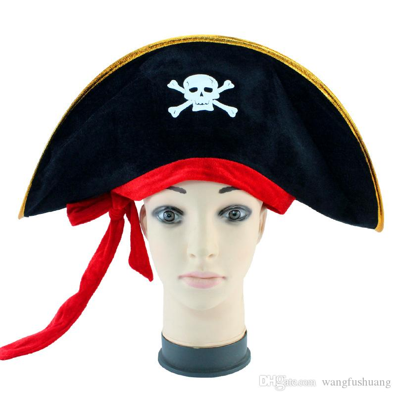 65787ef6200 Pirate Captain Hat Skull   Crossbone Design Cap Costume For Fancy Dress  Party Halloween Polyester 2018 Sales UK 2019 From Wangfushuang