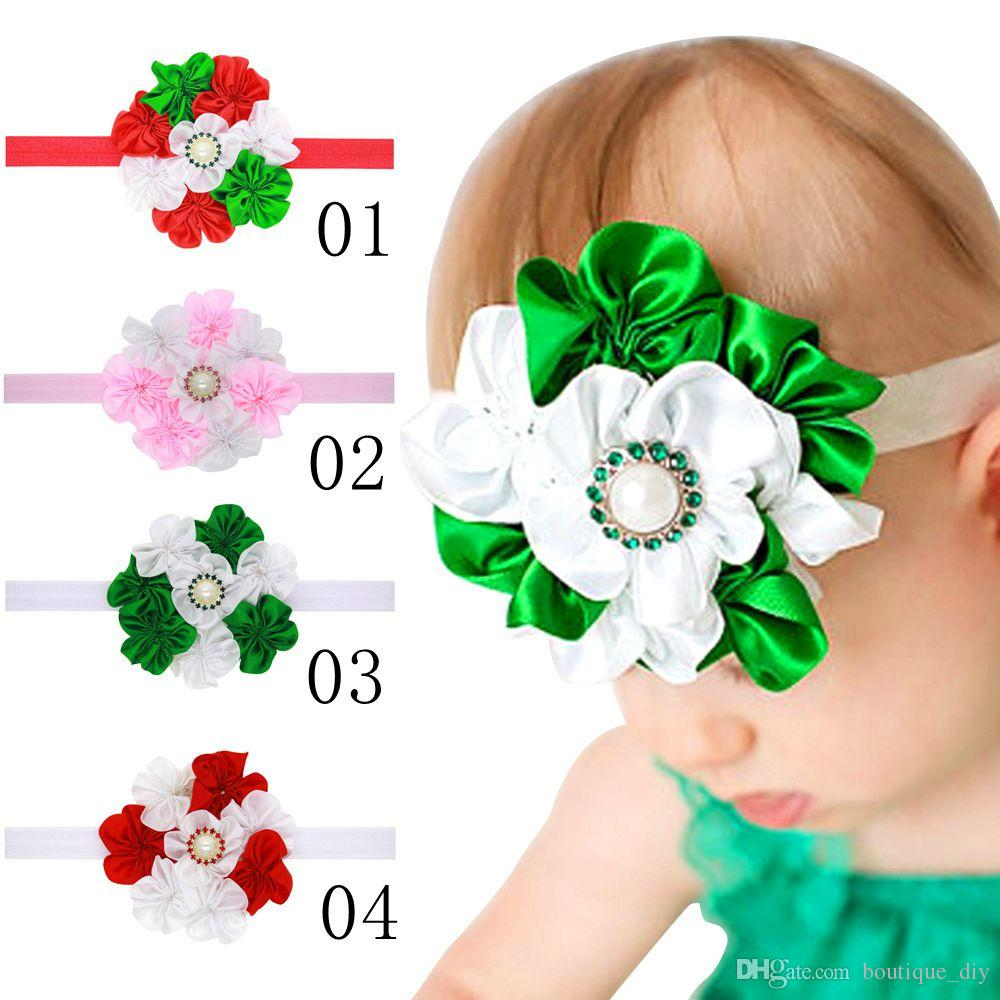 New Christmas Gifts Baby Girls Flower Satin HeadBands Handmade ...