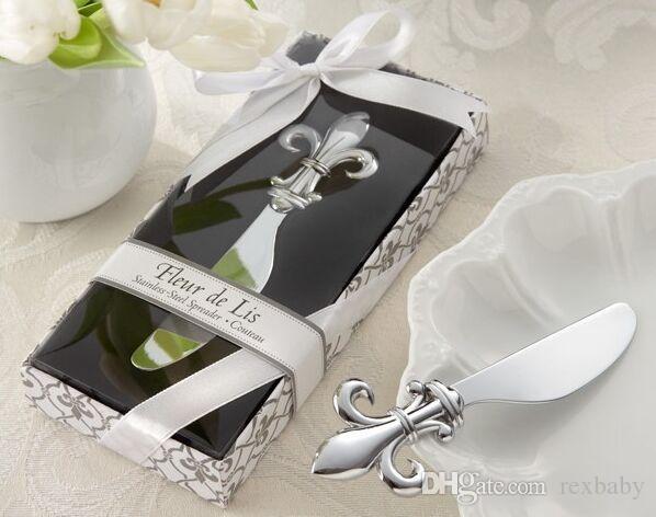 Grosshandel Fleur De Lis Chrome Spreader Butter Messer Hochzeit
