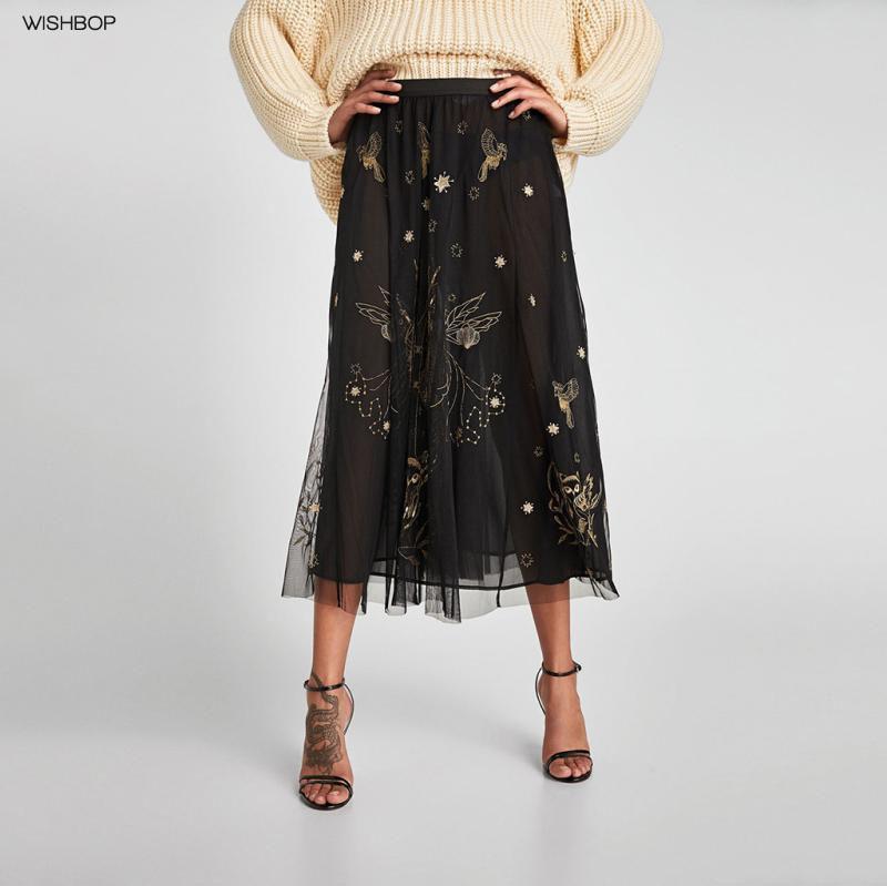 Couleurs variées 1688c d41cb 2018SS femmes mode jupe longue plissée en tulle noir taille élastique brodé  fil chatoyant de maille animaux paillettes avec doublure