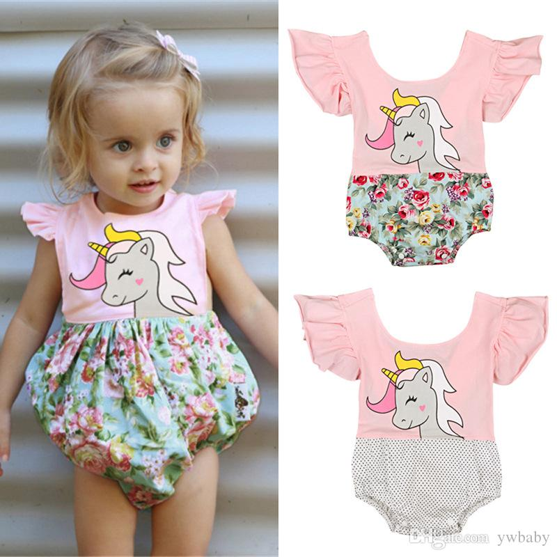 7c79afd5d 2019 Baby Unicorn Rompers Newborn Kids Girls Flower Cotton Jumpsuits Bebe  Princess Dots Unicorn Romper Baby Girl Clothes From Ywbaby, $36.67 |  DHgate.Com