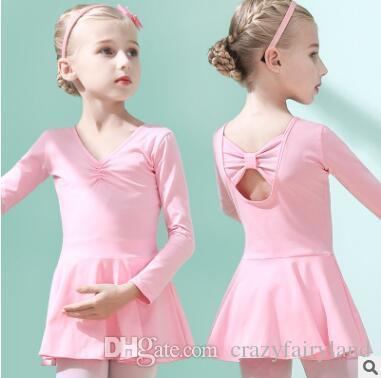 20b0ee6b0 Girls Ballet Dress Gymnastics Leotard Long Sleeve Skirted Ballet ...