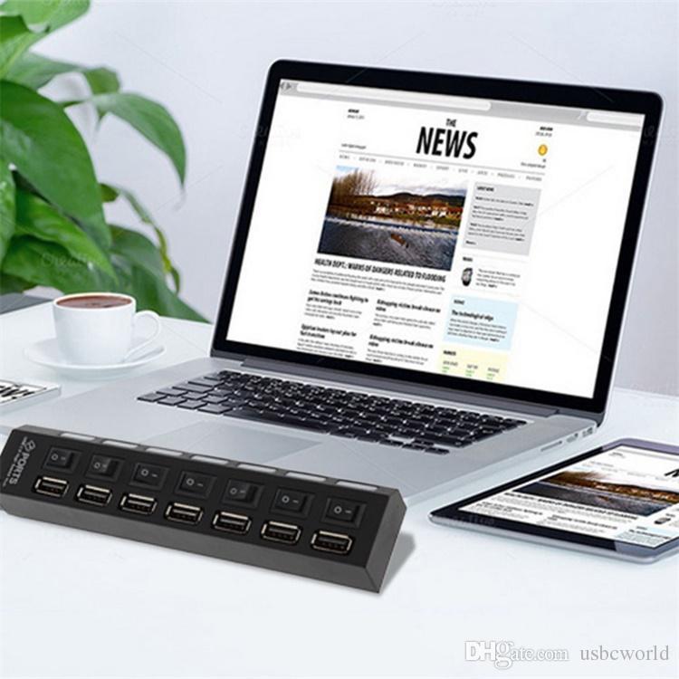 7 puertos USB 2.0 Hub de alta velocidad 480 Mbps Switch Hub USB Splitter para PC Periféricos de computadora portátil