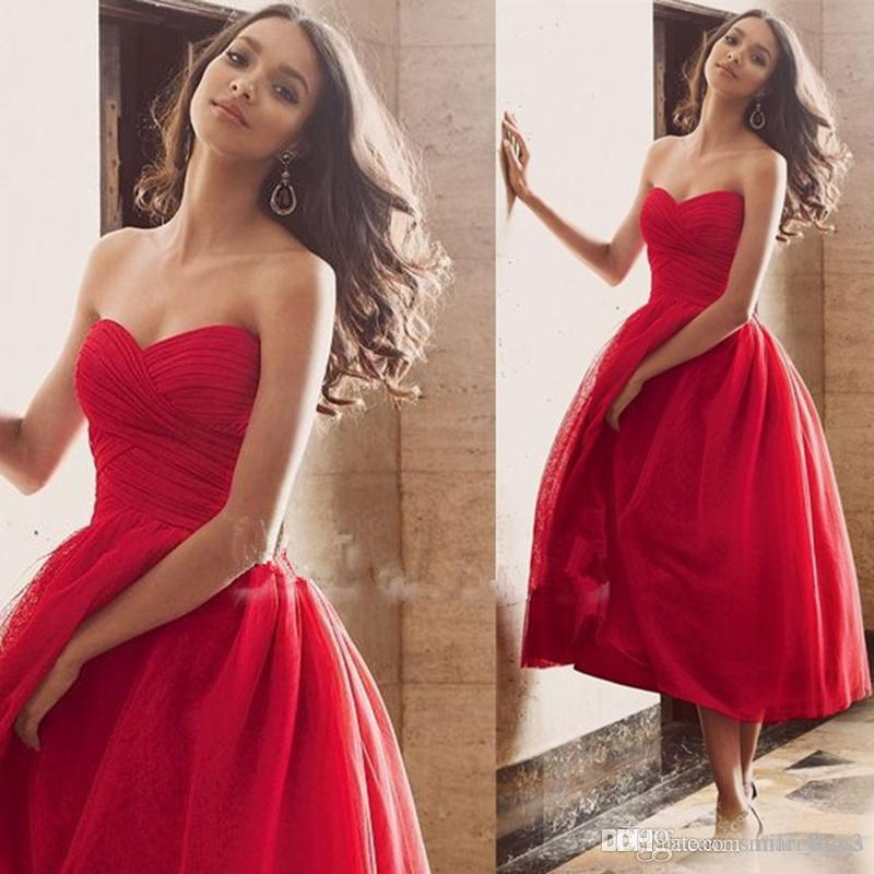 7129e8dec70 Red Short Prom Dresses Sweetheart Pleats Ball Gown Tea Length Zipper Up Tulle  Formal Evening Party Dresses Custom Made Exclusive Evening Dresses Funky ...