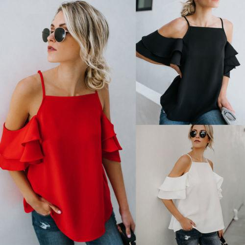 759c867f4fc3d 2019 New Fashion Women Summer Chiffon Shirts Ruffles Short Sleeve Off  Shoulder Loose Casual Strappy Shirt Crop Tops Blouse Online with  27.26  Piece on ...