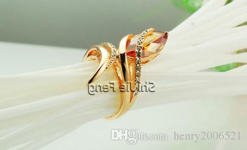 Retro sevgililer Günü Sonsuzluk Yolculuğu 18 K gül altın tezhip Şampanya yüzük boyutu 8