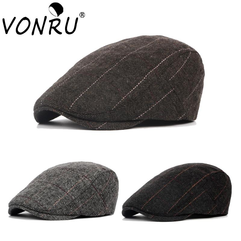 7c37d1086 Autumn Winter Men Berets Hat Fashion Classic Vintage Striped Dad Beret Cap  Painter Golf Driving French Style Peaked Beret Hat