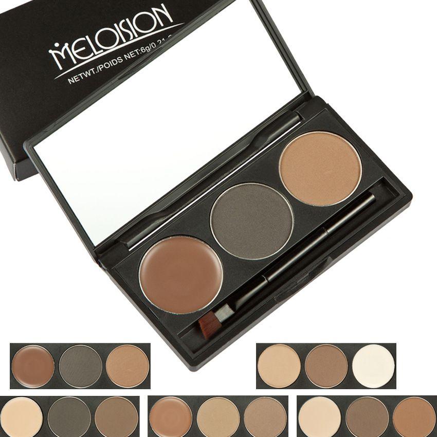Brand Meloision Makeup Cosmetics Brow Pow Waterproof Eyebrow Cake Powder Palette Eye Shadow Eye Brow Make Up Set Kit With Brush