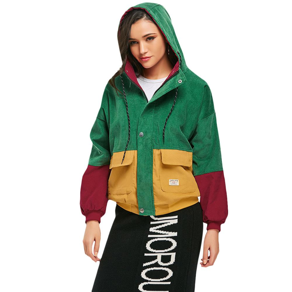 608e1a1d1 ZAFUL Spring Jacket Coat Women Patchwork Color Block Hooded Pocket Corduroy  Jackets Autumn Casual Jacket Coats Women Outerwear