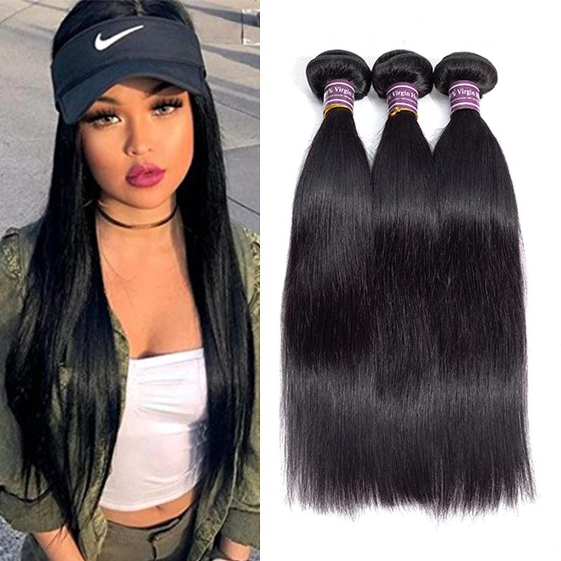 Raw Indian Virgin Straight Human Hair Weaves Bundles Unprocessed Brazilian Peruvian Hair Extensions Wet and Wavy Human Hair Products Hot
