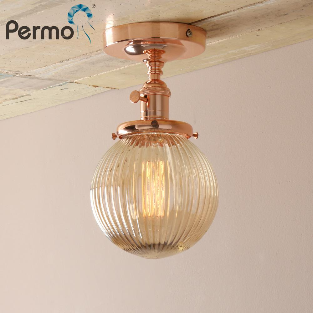 2019 permo modern wall lamp amber glass lampshade wall sconce lights fixture vintage new year lighting decor bathroom ceiling lamp from hogon