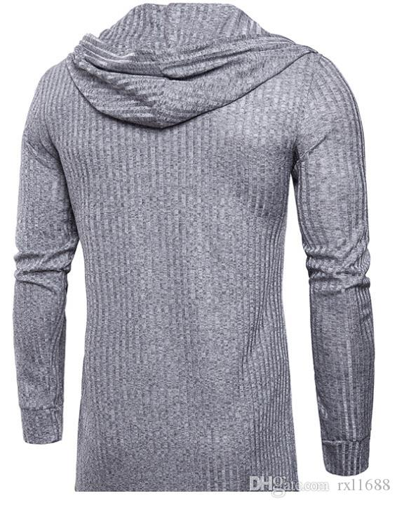 2018 Spring Men's T-shirt African-style fashion solid color cardigan design hooded men's long-sleeved T-shirt