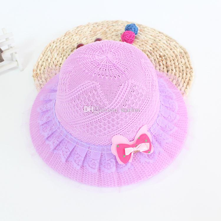 Piscinas de Praia de verão Viseira Chapéus Para Crianças Meninas Bebê Lace Brab Snaback Hat Cap Crianças Princesa Palha Bacia Caps 40 Estilos WX9-615