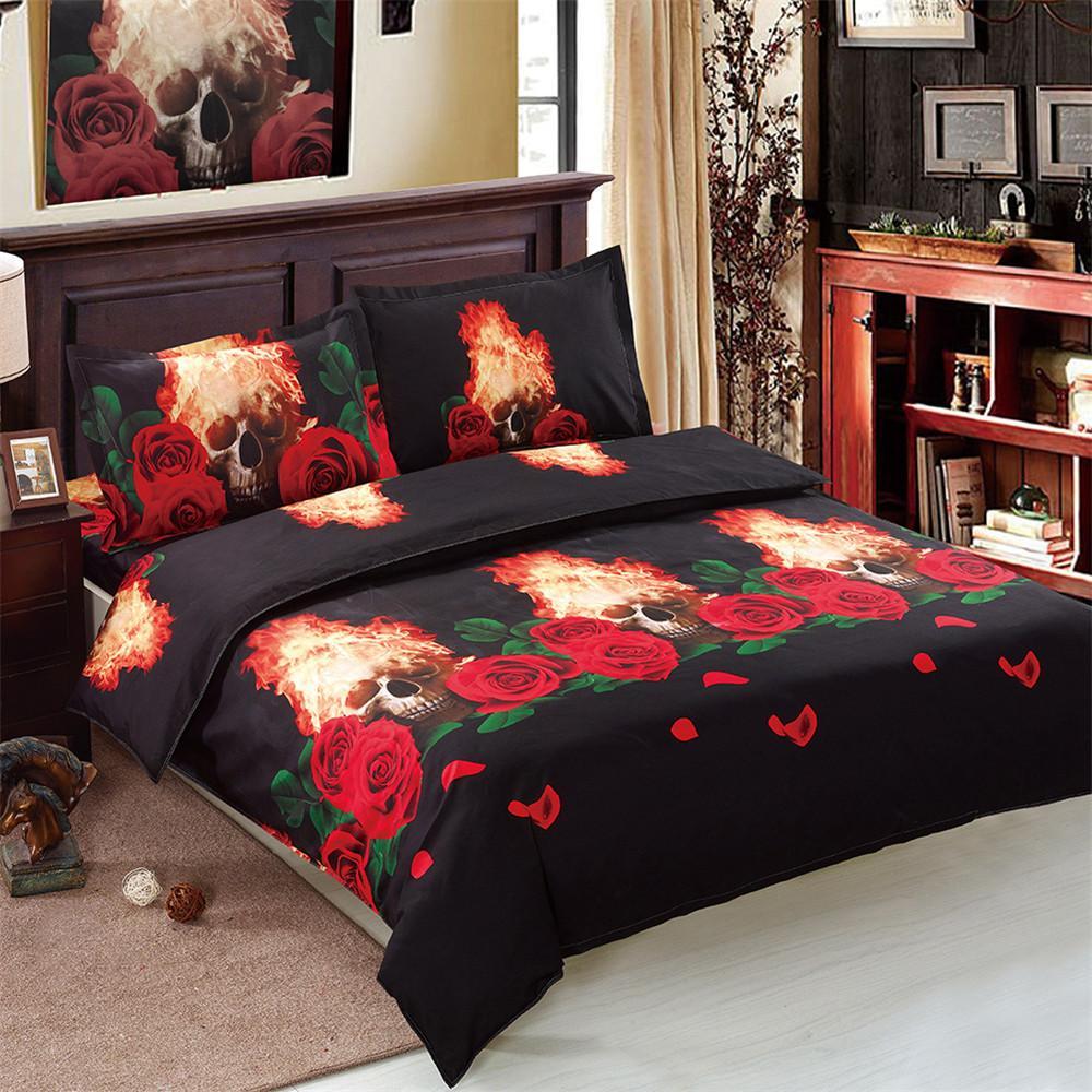 Red Rose Black Bedding Set Fire Skull Duvet Cover Set Halloween Bed