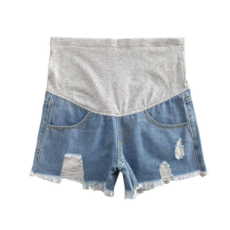 50234b3bf3b High Waist Pregnancy Shorts For Pregnant Women Clothes Maternity Abdominal  Hole Denim Shorts Prop Belly Gravidas Summer Shorts Cheap Shorts High Waist  ...