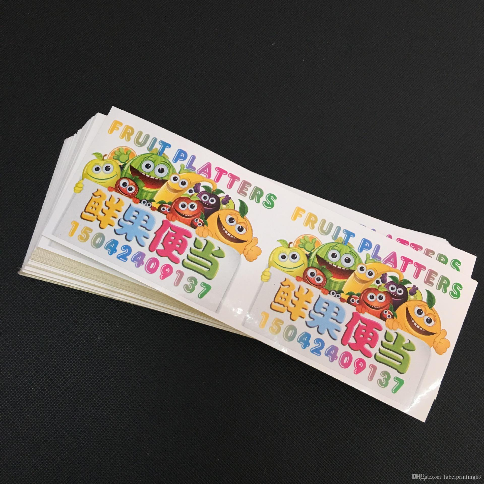 Customized colorful durable outdoor white PVC advertising label printed waterproof sticker children cartoon decal