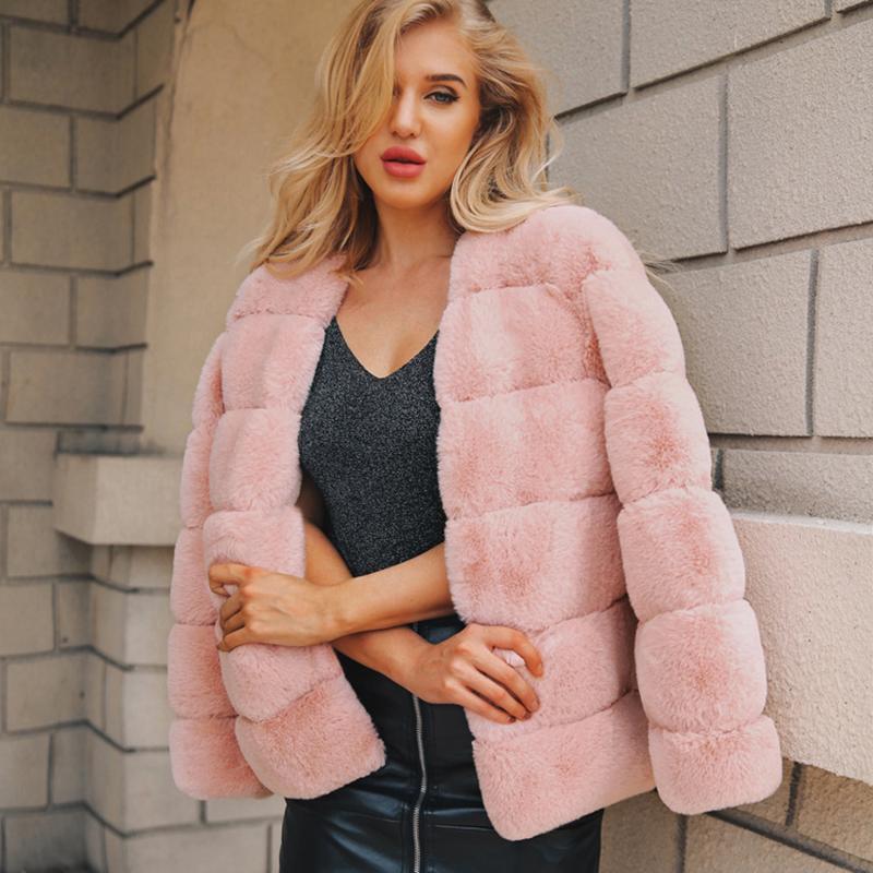 ad3b2724b26 2019 UPPIN Faux Fur Coat Girls Plus Size Women Pink Jacket 2018 Elegant V  Neck Soft Warm Rabbit Fur Coats Winter Autumn Ladies Jacket From Stepheen