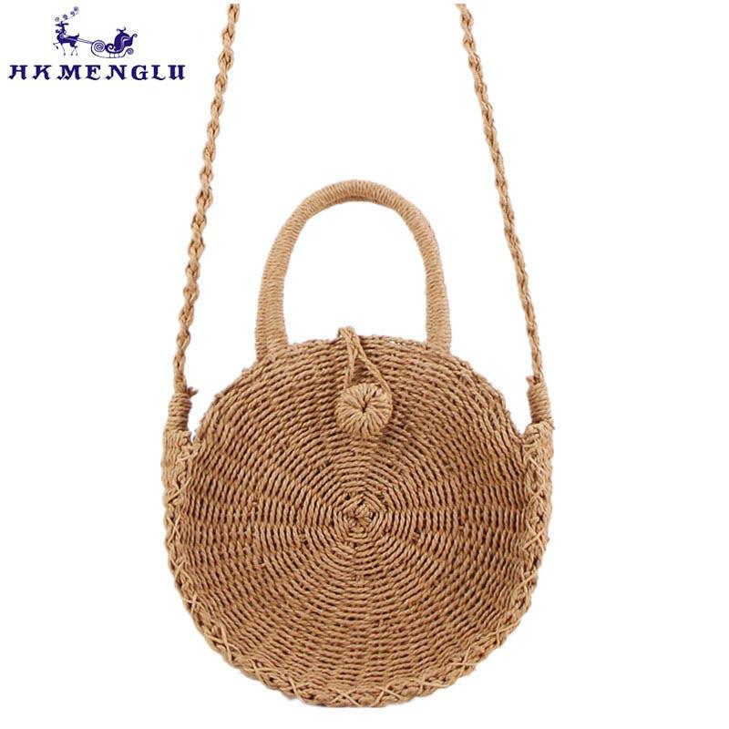 Luggage & Bags Vintage Handmade Rattan Woven Shoulder Bags Pu Leather Straps Bow Hasp Holiday Beach Crossbody Bag Messengers Women Handbag E Moderate Price