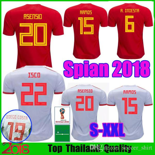 5748ad8d3 2019 Spain Home ASENSIO 2018 World Cup Espana Camisetas Away White Soccer  Jersey 2019 MORATA RAMOS A.INIESTA ISCO Football Shirt Wholesale From  Soccer shirt ...