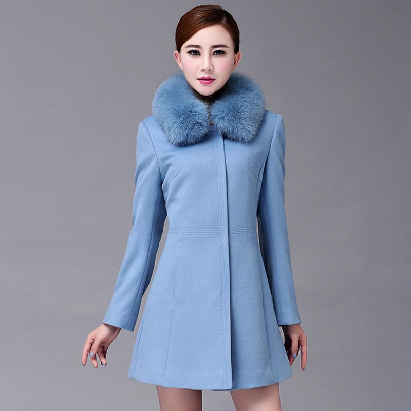 7e126e2fe 2017 trench jackets for women fur collar long slim wool coat women's large  sizes A-line wool blend cashmere overcoats LA0065