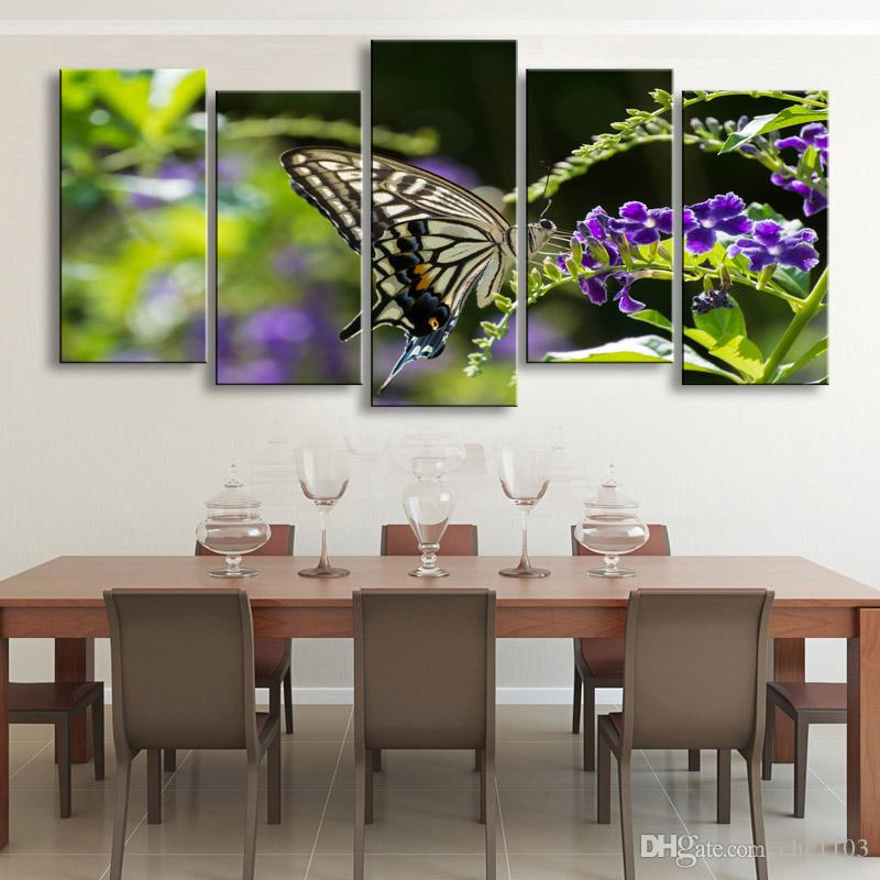 high-definition print butterfly canvas painting poster and wall art living room picture B-081