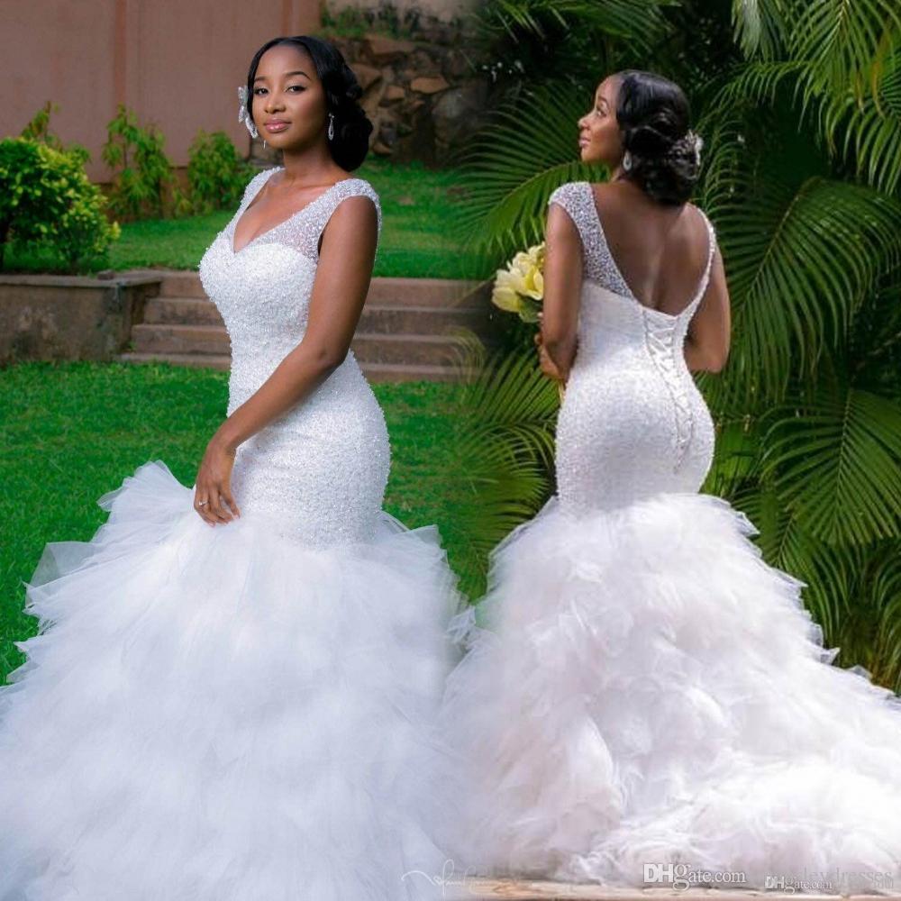 Unique African Wedding Dresses: African Plus Size Wedding Dresses 2018 V Neck Crystal