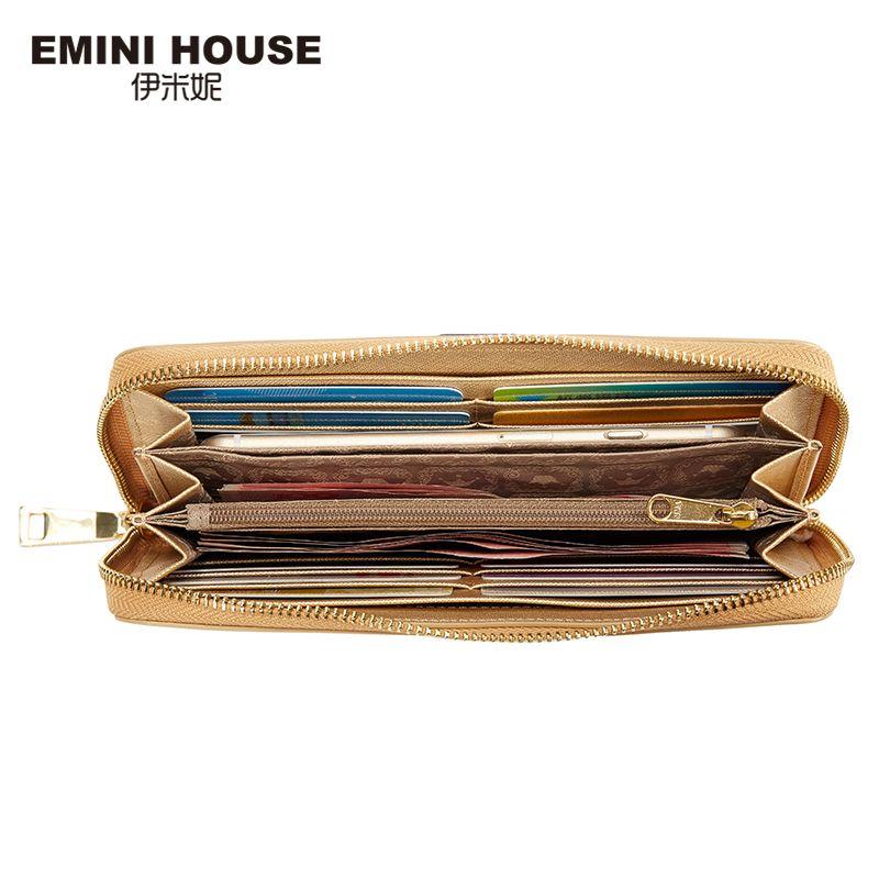 EMINI HOUSE Elegant Split Leather Long Wallet Fashion Multifunction Women Wallets Card Wallet Holder Women Coin Purse