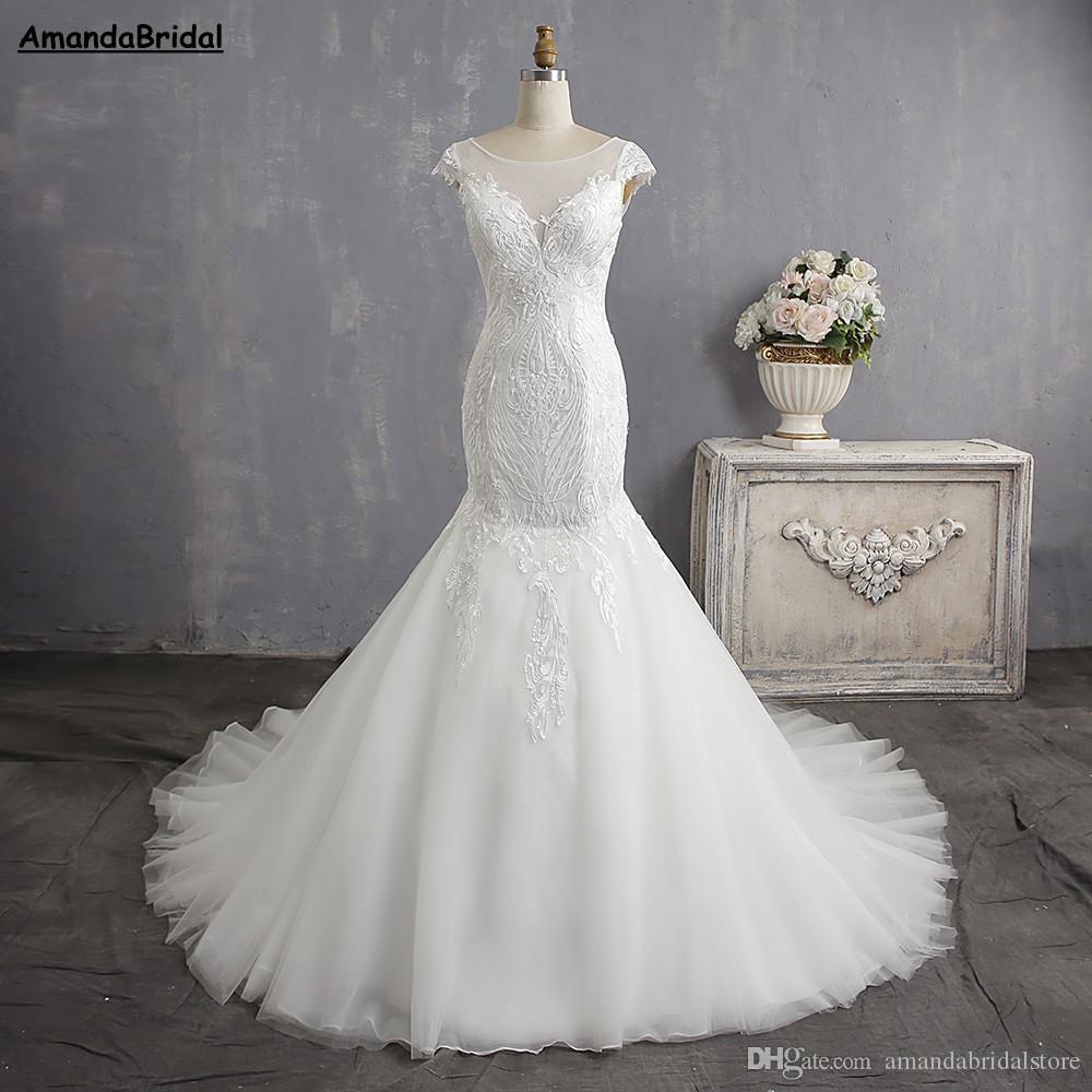 Amandabridal Cap Sleeve Bride Dress Lace Wedding Dresses China Plus ...