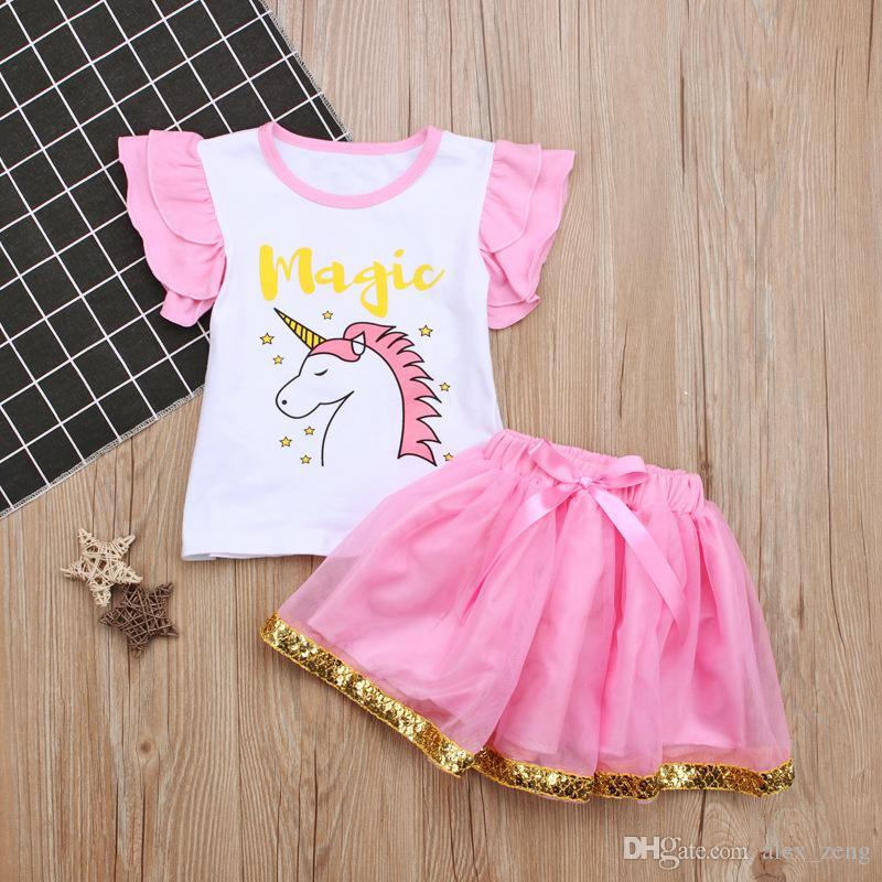 Европейский стиль дети лето одежда наборы девочка единорог печати муха рукав сверху с розовой Туту юбки костюмы Бесплатная доставка