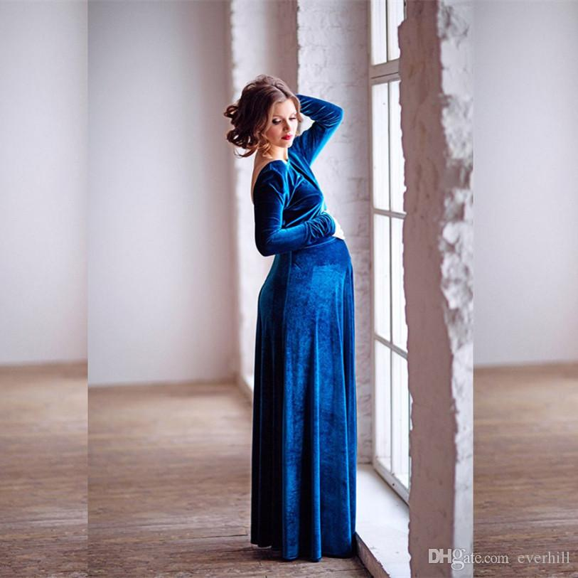5ba7c561904 JaneVini Velvet Royal Blue Maternity Evening Dresses Long Sleeve A Line Prom  Dresses 2018 Backless Pregnant Women Formal Party Wear Gown Shop Dress Shop  For ...