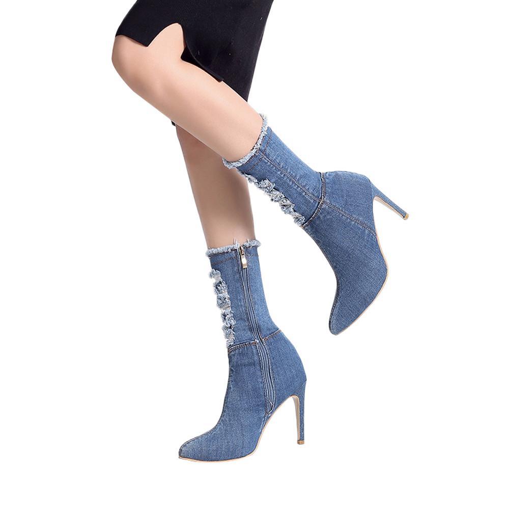 Zapatos de las mujeres de moda zapatos de tacón alto botas de tubo medio Denim Zippe Color sólido punta estrecha señora botas casuales botas mujer