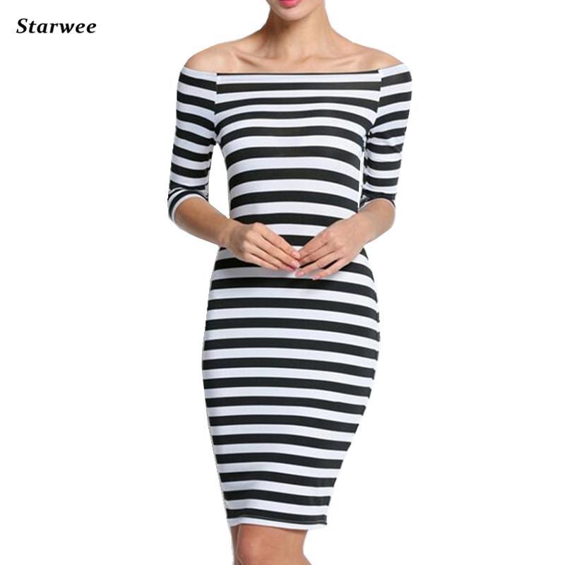 6132bc64504 2019 Satrwee Women Summer Slim Dress Fashion Stripe Beach Casual Dresses  Plus Size Women Slash Neck Strapless Clothing Dresses From Eventswedding