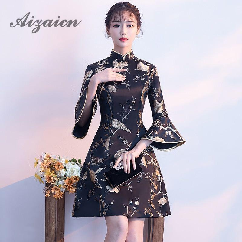 b5971753a2 2018 Modern Chinese Dress Qipao Black Bell Sleeve Elegant Satin Cheongsam  Dresses Traditional Women Oriental Evening Gown China
