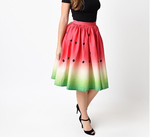 2018 summer 3D Watermelon section printed women Skirt red green Tutu skirt female hip hop High waist umbrella Skirt for woman