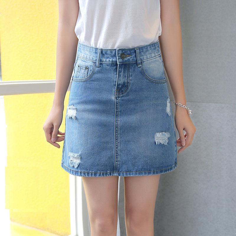 2dce5d27a Summer Plus Size Faldas de cintura alta Jeans para mujer Agujero Falda  Mujer Casual Una línea Falda de mezclilla Faldas Mujer Moda Jupe Femme