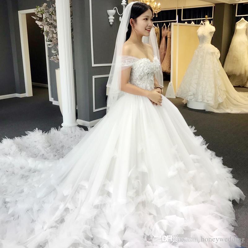 Discount 3D Flowers Wedding Dresses 2019 Off Shoulder
