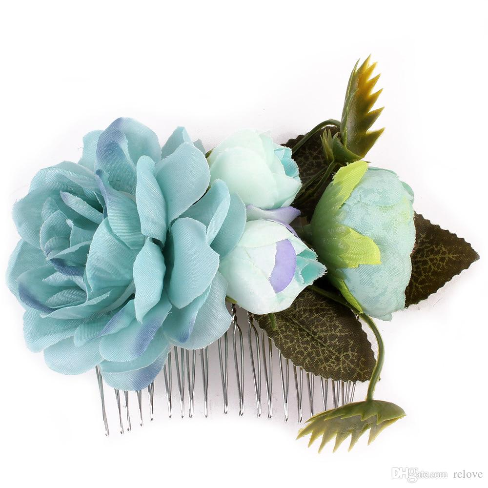 Girls Brides Flower Headwear Bridal Wedding Party Prom Dresses' Hair Comb Accessories Head Piece For Bride Jewelry