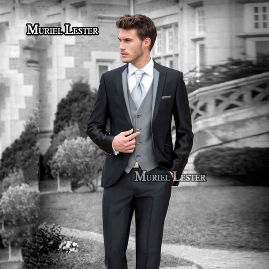 416054a7a8 2019 Muriel Lester Handsome Italian Black Wedding Suits For Men ...