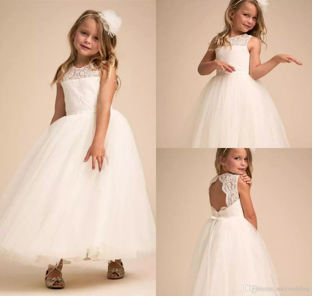 9f452cac709c Cheap Ivory Lace Flower Girl Dresses For Wedding Backless Kids ...