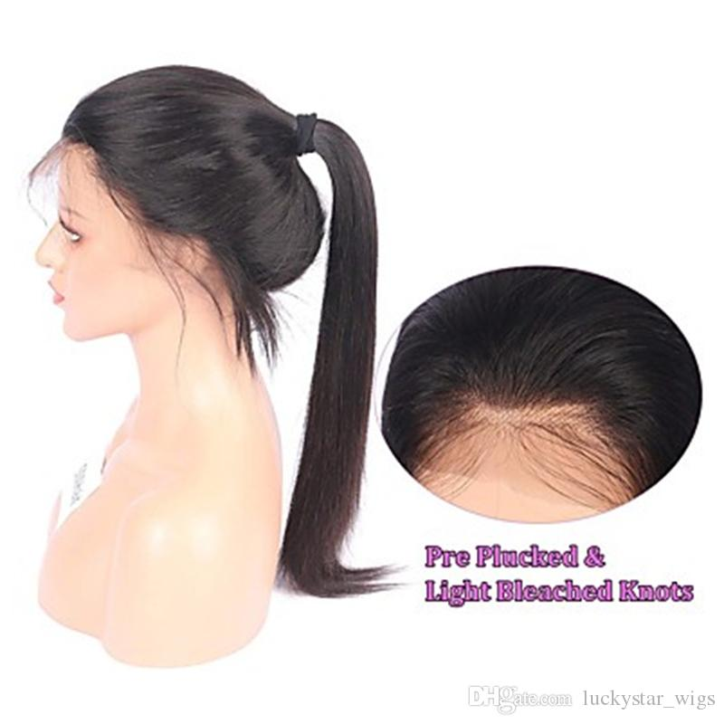 Natural Look Silky Straight Long Black Wigs With Baby Hair Free Part