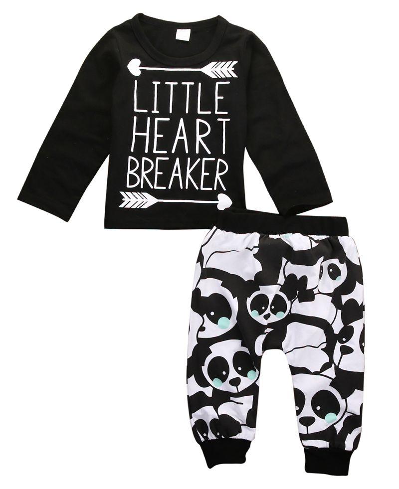 76bfa59fe Infant Baby Newborn Boy Girl Little Heart Long Sleeve T-shirt Top+Panda  Legging Long Pants 2pcs Outfit Set Baby Boy Girls Outfit