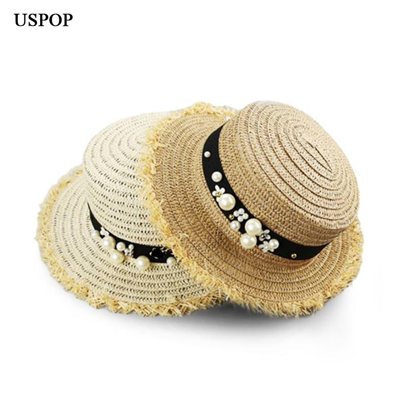 USPOP Hot Fashion Sun Hat Women Pearl Straw Hats Hand Made Flat Top Straw  Beach Hat Mens Straw Hats Mens Hat Styles From Stirringoa ed91eff3365